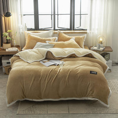 贝贝绒大包边工艺四件套22个花色4个规格 1.2m床单款三件套 驼色-白