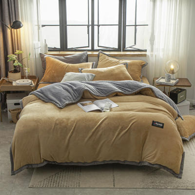 贝贝绒大包边工艺四件套22个花色4个规格 1.2m床单款三件套 驼色-灰