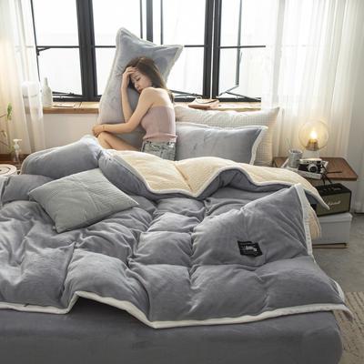 贝贝绒大包边工艺四件套22个花色4个规格 1.2m床单款三件套 银灰-白