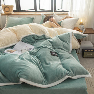 贝贝绒大包边工艺四件套22个花色4个规格 1.2m床单款三件套 竹青-白