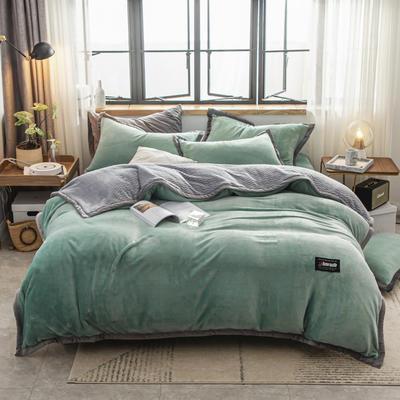 贝贝绒大包边工艺四件套22个花色4个规格 1.2m床单款三件套 竹青-灰