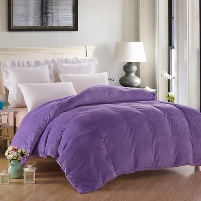 2019新款纯色双拼法兰绒被套 150x200cm 浅紫