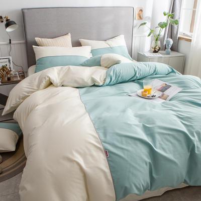 40s长绒棉133*74纯色工艺款四件套 1.5m床单款四件套 豆绿+奶白