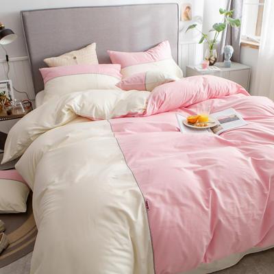 40s长绒棉133*74纯色工艺款四件套 1.5m床单款四件套 粉玉+奶白