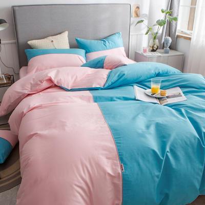 40s长绒棉133*74纯色工艺款四件套 1.5m床单款四件套 湖蓝+粉玉