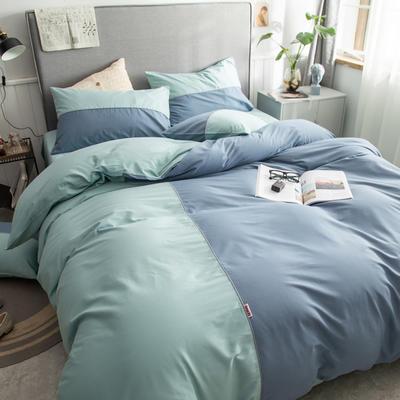 40s长绒棉133*74纯色工艺款四件套 1.5m床单款四件套 蓝灰+豆绿