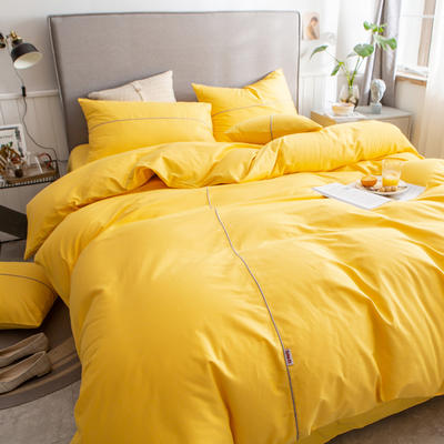 40s长绒棉133*74纯色工艺款四件套 1.2m床单款三件套 杏黄