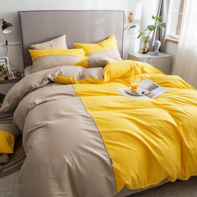 40s长绒棉133*74纯色工艺款四件套 1.5m床单款四件套 杏黄+卡其