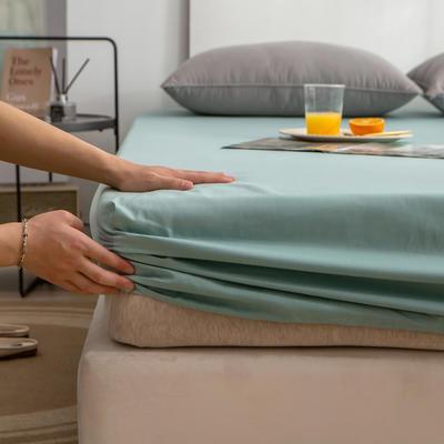单品床笠、席梦思保护套-40s长绒棉-兰紫橙家纺 120*200+25cm 豆绿