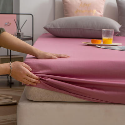 单品床笠、席梦思保护套-40s长绒棉-兰紫橙家纺 120*200+25cm 豆沙