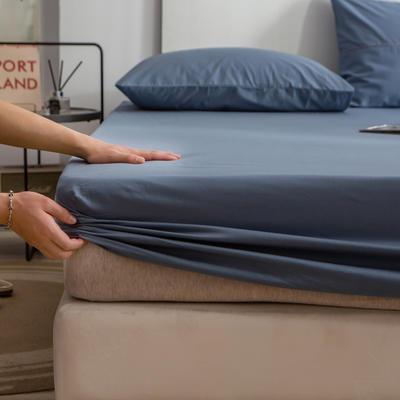 单品床笠、席梦思保护套-40s长绒棉-兰紫橙家纺 150*200+25cm 蓝灰