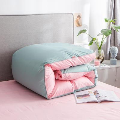 2020新款40s长绒棉纯色工艺款单被套 200x230cm 豆绿+粉玉