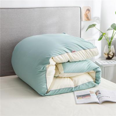 2020新款40s长绒棉纯色工艺款单被套 200x230cm 豆绿+奶白