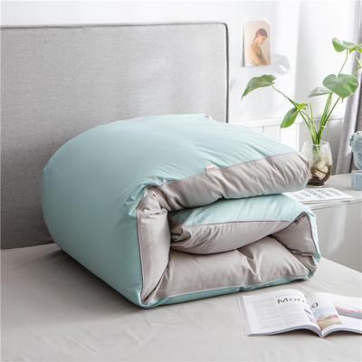 2020新款40s长绒棉纯色工艺款单被套 200x230cm 豆绿+浅灰