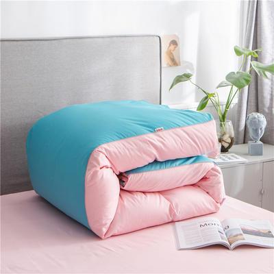 2020新款40s长绒棉纯色工艺款单被套 200x230cm 湖蓝+粉玉