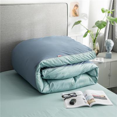 2020新款40s长绒棉纯色工艺款单被套 200x230cm 蓝灰+豆绿