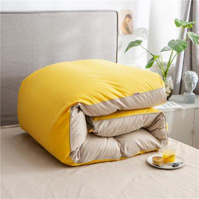 2020新款40s长绒棉纯色工艺款单被套 200x230cm 杏黄+卡其