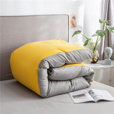2020新款40s长绒棉纯色工艺款单被套 200x230cm 杏黄+浅灰