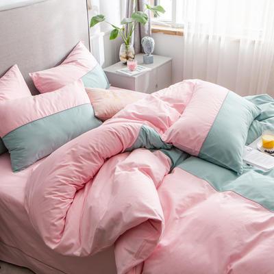 40s长绒棉133*74纯色工艺款四件套 1.5m床单款四件套 豆绿+粉玉