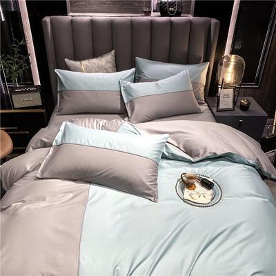 40s长绒棉133*74纯色工艺款四件套 1.5m床单款四件套 豆绿+浅灰