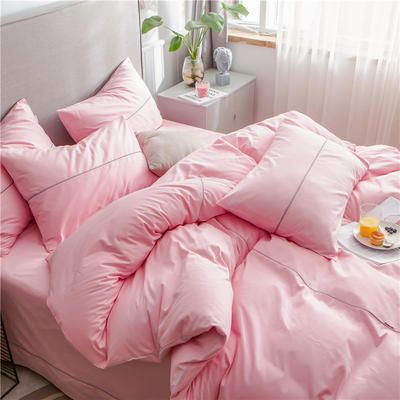 40s长绒棉133*74纯色工艺款四件套 1.2m床单款三件套 粉玉