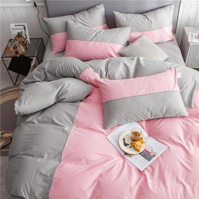 40s长绒棉133*74纯色工艺款四件套 1.5m床单款四件套 粉玉+浅灰