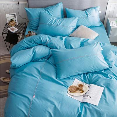 40s长绒棉133*74纯色工艺款四件套 1.2m床单款三件套 湖蓝