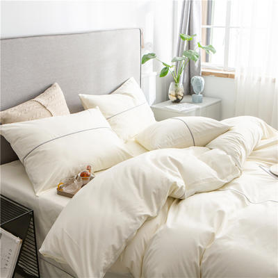 40s长绒棉133*74纯色工艺款四件套 1.2m床单款三件套 奶白