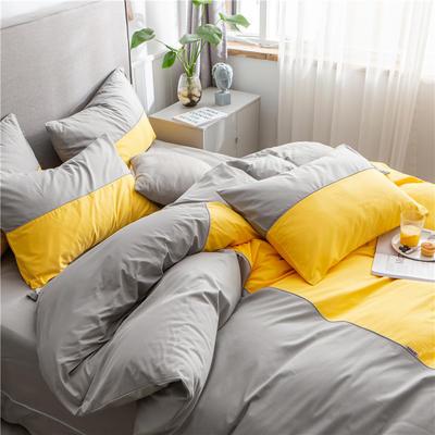 40s长绒棉133*74纯色工艺款四件套 1.5m床单款四件套 杏黄+浅灰