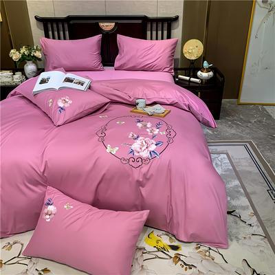 13374长绒棉纯色刺绣工艺款四件套 1.5m床单款四件套 富贵花开-豆沙