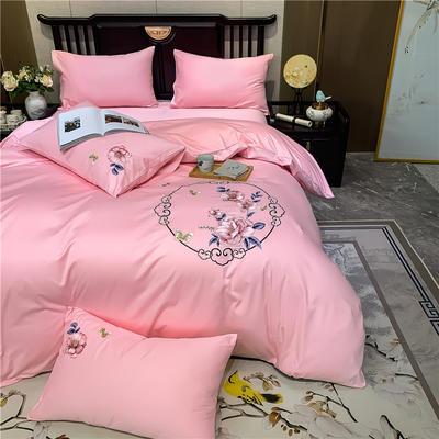13374长绒棉纯色刺绣工艺款四件套 1.5m床单款四件套 富贵花开-粉玉