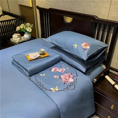 13374长绒棉纯色刺绣工艺款四件套 1.8m床单款四件套 富贵花开-蓝灰