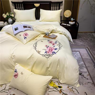 13374长绒棉纯色刺绣工艺款四件套 1.5m床单款四件套 富贵花开-奶白
