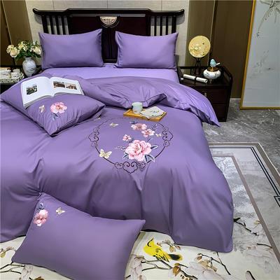 13374长绒棉纯色刺绣工艺款四件套 1.5m床单款四件套 富贵花开-雪青