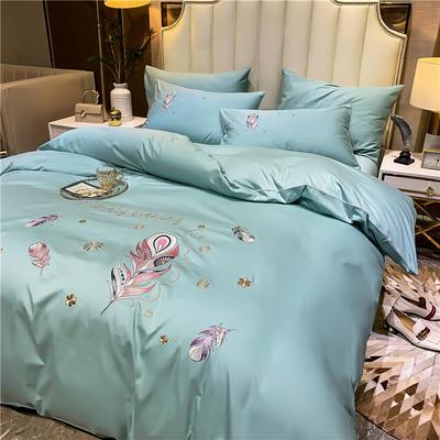 13374长绒棉纯色刺绣工艺款四件套 1.5m床单款四件套 轻羽曼舞-豆绿