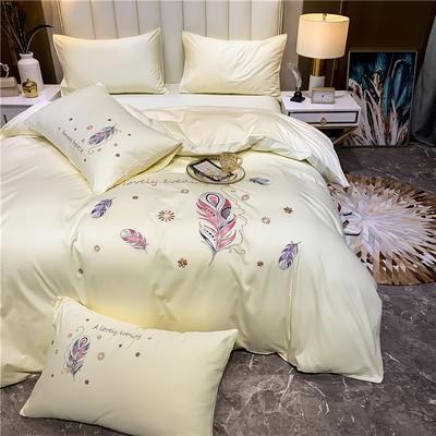 13374长绒棉纯色刺绣工艺款四件套 1.5m床单款四件套 轻羽曼舞-奶白