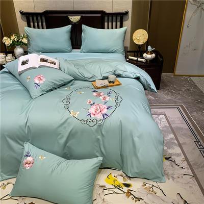 2020新款13374长绒棉刺绣四件套 1.5m床单款四件套 富贵花开-豆绿