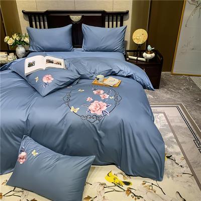2020新款13374长绒棉刺绣四件套 1.5m床单款四件套 富贵花开-蓝灰