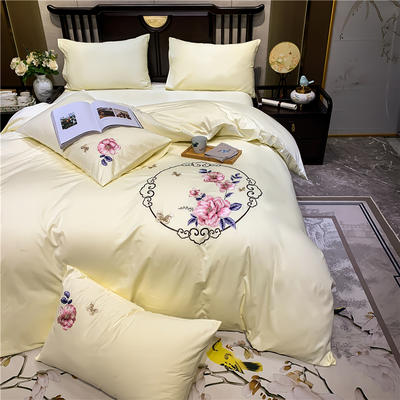 2020新款13374长绒棉刺绣四件套 1.5m床单款四件套 富贵花开-奶白