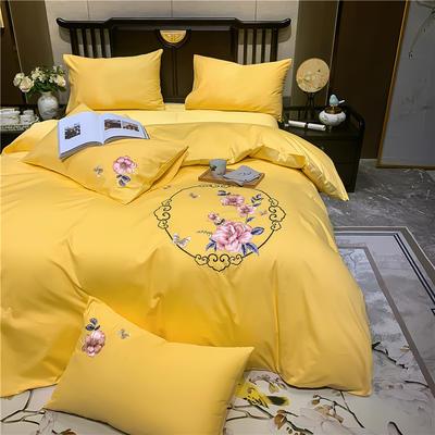 2020新款13374长绒棉刺绣四件套 1.5m床单款四件套 富贵花开-杏黄