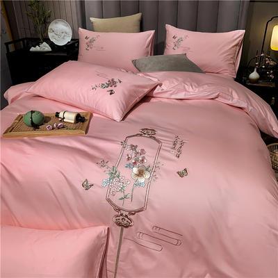2020新款13374长绒棉刺绣四件套 1.5m床单款四件套 流年-粉玉