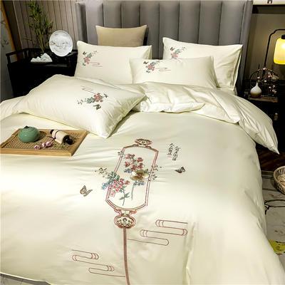 2020新款13374长绒棉刺绣四件套 1.5m床单款四件套 流年-奶白