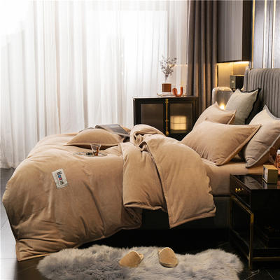 2020新款包边牛奶绒四件套 1.8m床单款四件套 浅驼