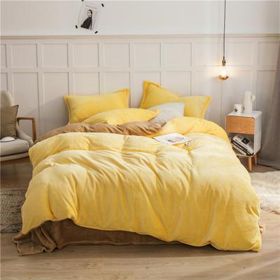 2020新款纯色双拼法兰绒四件套 1.5m床单款四件套 鹅黄+驼色