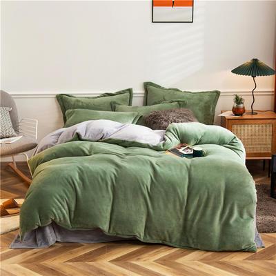 2020新款纯色双拼法兰绒四件套 1.5m床单款四件套 军绿+浅灰