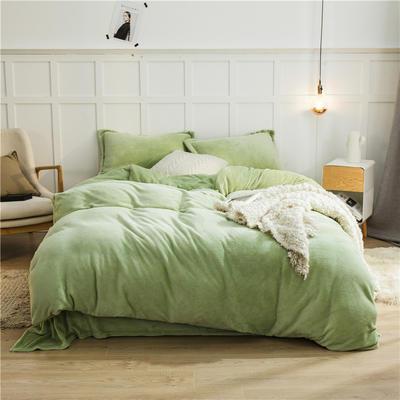 2020新款纯色双拼法兰绒四件套 1.5m床单款四件套 浅绿