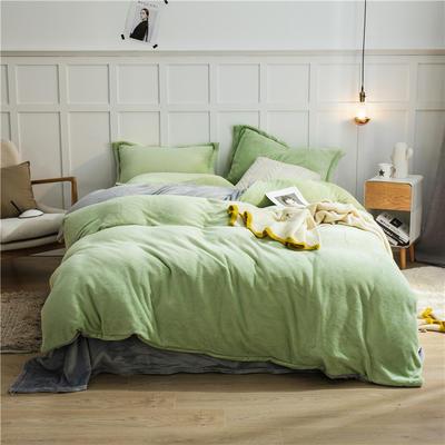 2020新款纯色双拼法兰绒四件套 1.5m床单款四件套 浅绿+浅灰