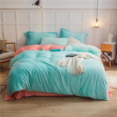 2020新款纯色双拼法兰绒四件套 1.5m床单款四件套 水蓝+玉色