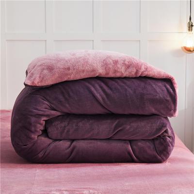 2020款纯色双拼法兰绒被套 200X230cm 暗紫+豆沙