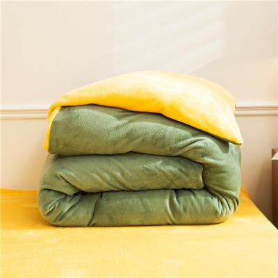 2020款纯色双拼法兰绒被套 200X230cm 军绿+鹅黄